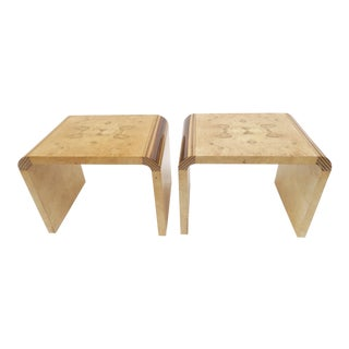 Henredon Vintage Burlwood Side Tables - A Pair