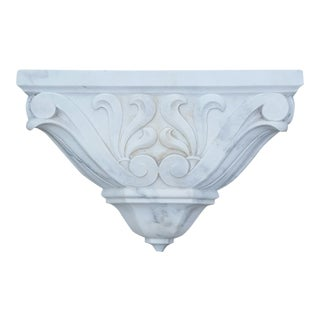 19th C. White Carrara Marble Wall Bracket