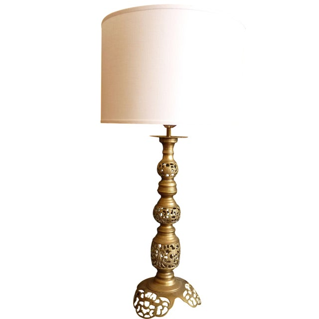 Punched Brass Column Table Lamp - Image 1 of 8