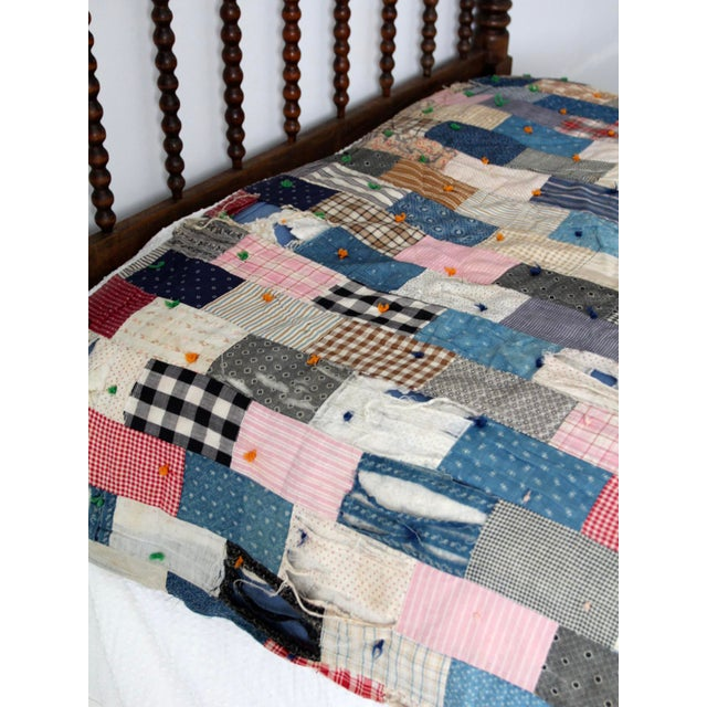 Vintage Hand-Tied Patchwork Quilt - Image 3 of 10
