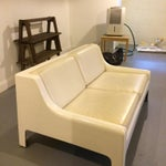 Image of Danish Modern Fiberglass & Leather Sofa