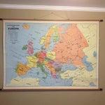 Image of Vintage Belgian Roll Down School Map of Europe