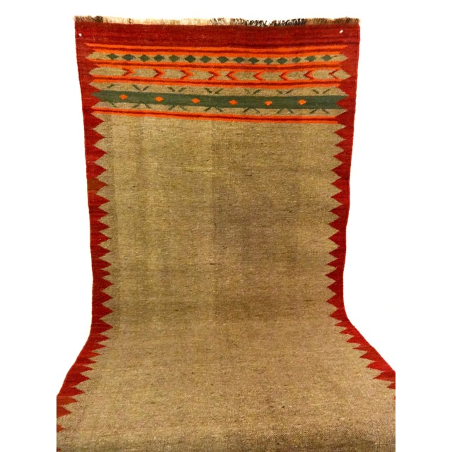 "Hand-Woven Wool Kilim Runner - 3'2"" x 9' - Image 4 of 4"