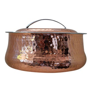 Hammered Copper Lidded Casserole Serving Dish Insulated