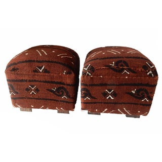 African Cotton Mud Cloth Ottomans - A Pair