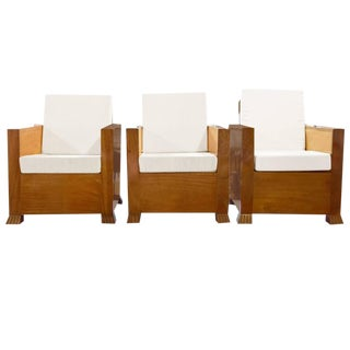 Set of Three Burl Wood Club Chairs