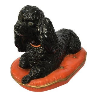 Ceramic Poodle on Pillow Figurine