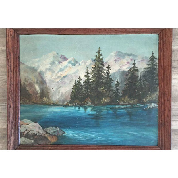 Snowy Mountain Landscape Painting - Image 3 of 3