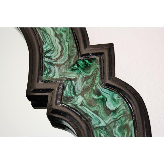 Faux Malachite Lacquered Mirror - Image 3 of 4