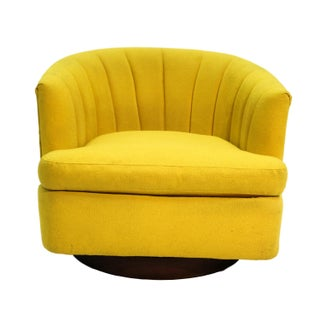 Milo Baughman Style Mid-Century Yellow Swivel Tub Chair