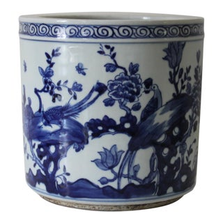 Blue & White Porcelain Bird Planter