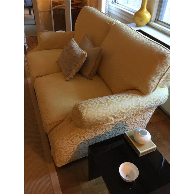 Image of Yellow Damask Loveseats - A Pair