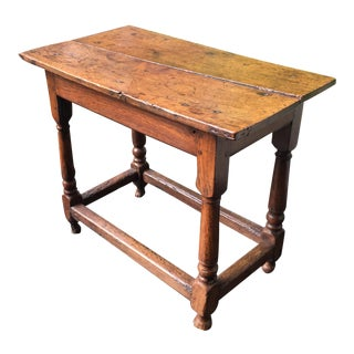 Circa 1720 English Oak Side Table With Stretchers