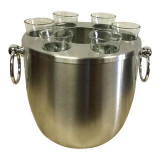 Stainless Steel Vodka Ice Bucket & 6 Shot Glass
