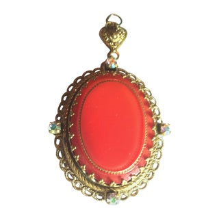 1960s Carnelian Red Lucite Pendant