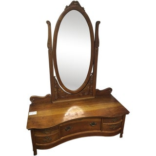Beautiful 1800's Carved Vanity/Low Dresser
