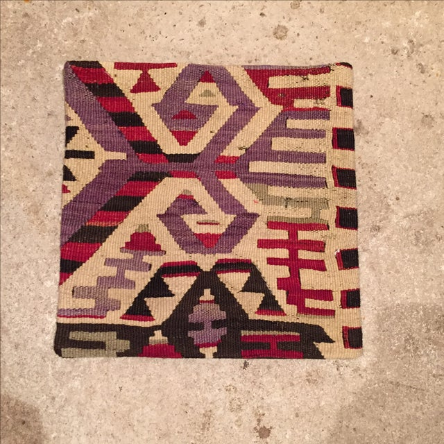 Image of Vintage White, Purple, and Red Kilim Pillow