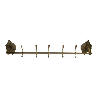 Oversize Brass Coat Rack with Horse Heads, 1920