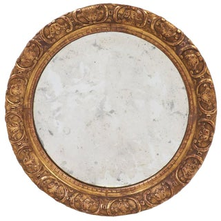 Restauration Period Round Gold Leaf Mirror