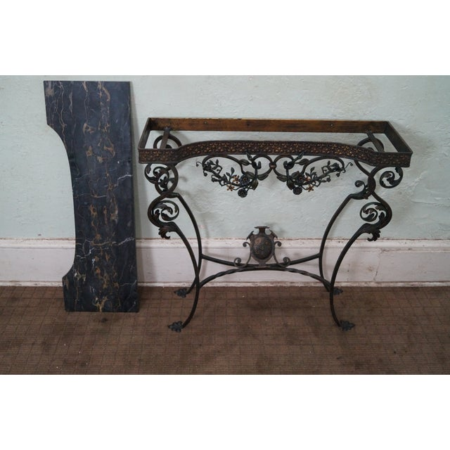 Antique Marble Amp Cast Iron Console Table Amp Mirror Chairish