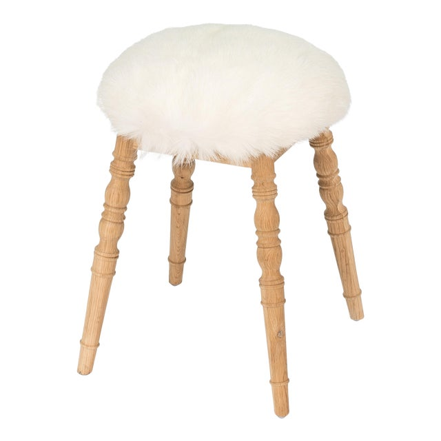 Sarreid LTD White Winoma Stool - Image 1 of 7