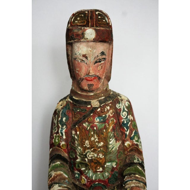 Image of Early Chinese Polychromed Wood Temple Figure