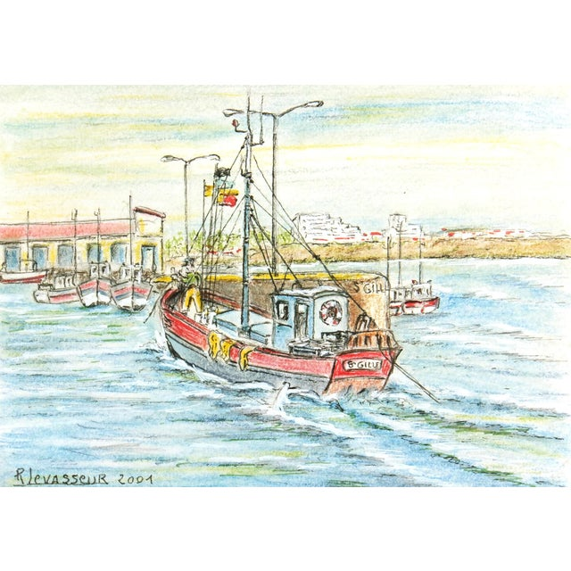 Image of Contemporary French Port Watercolor Painting