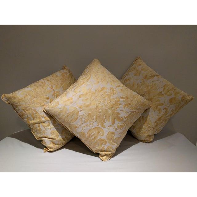Custom Italian Gold Damask Silk Pillows - Set of 3 - Image 2 of 11