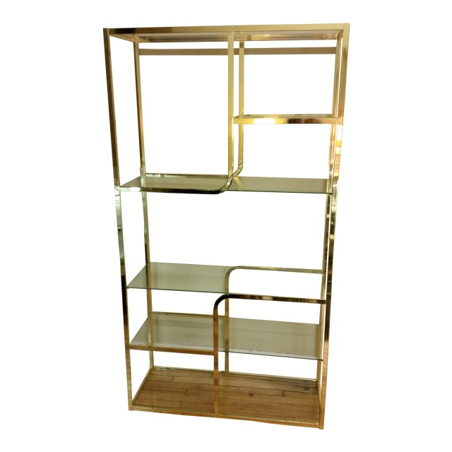 Hollywood Regency Glass & Brass Etagere - Image 1 of 7