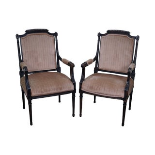 Custom Quality Pair of French Louis XVI Style Arm Chairs