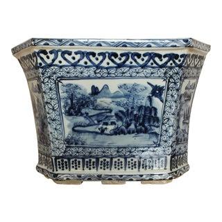 Chinoiserie Hexagonal Blue & White Porcelain Planter Pot