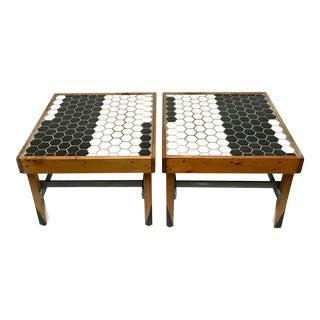 Black & White Tile Top End Tables - A Pair