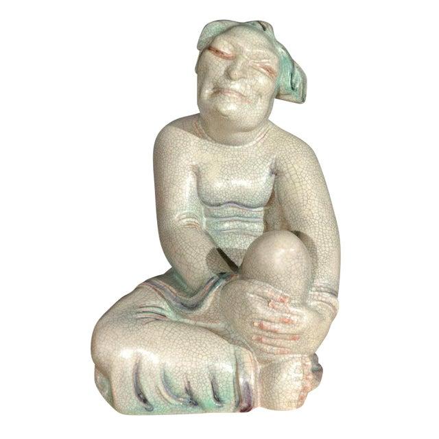 Large Crackle Glazed Buddha Figure - Image 1 of 8