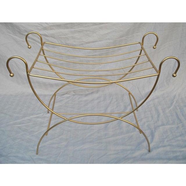 Image of Mid-Century Gold Vanity Stool X Bench
