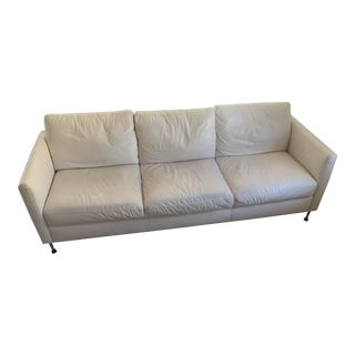 Macy's Contemporary White Leather Sofa