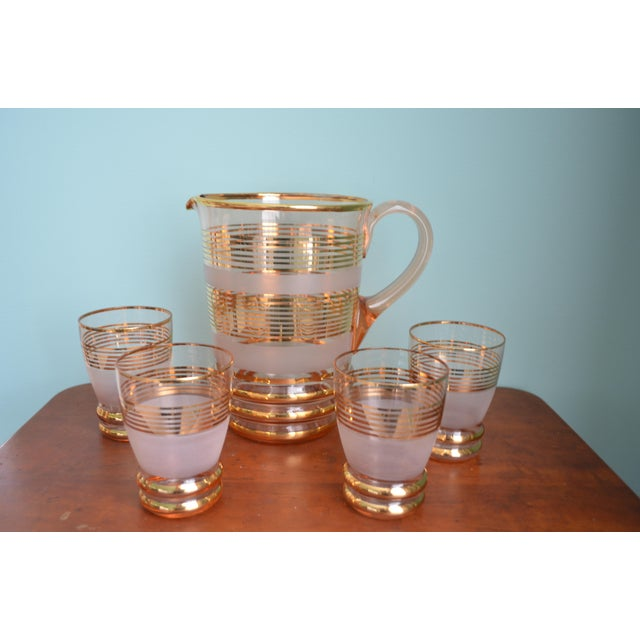 Gilt & Frosted Pitcher & Glasses Set - Image 2 of 5