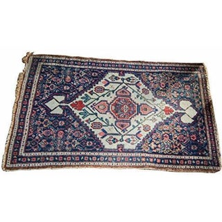 Blue and Ivory Antique Senneh Rug