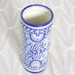 Image of Blue and White Umbrella Stand