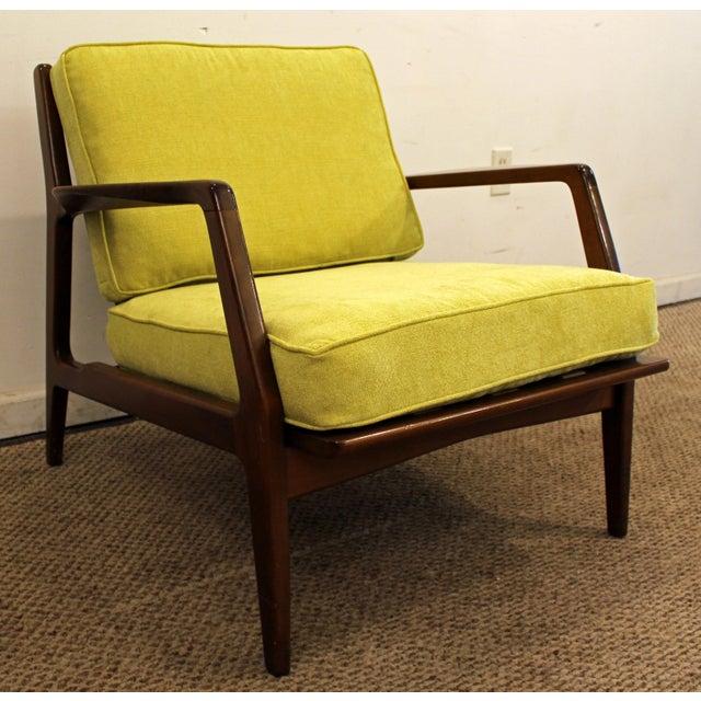 Image of Mid-Century Danish Modern 'Citron' Walnut Open Arm Lounge Chair
