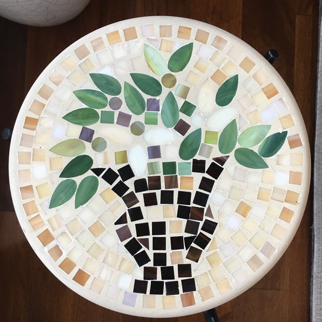 Mosaic & Iron Garden Table - Image 4 of 4