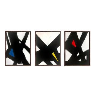 """Black Slash Primary Triptych"" - Framed Giclée Prints"
