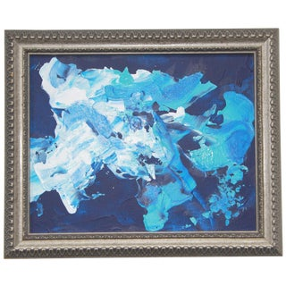 Zodiac 1 Abstract Blue Framed Painting by L. Paul