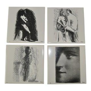 1976 Vintage Picasso Art Tiles- Set of 4