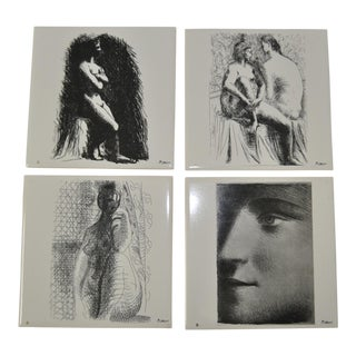 1976 Vintage Picasso Art Tiles- Set of 4