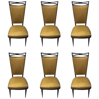 Circa 1940s French Art Deco Ebonized Dining Chairs - Set of 6