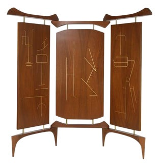 FRANK KYLE THREE-PANEL SCREEN IN WALNUT AND BRONZE, CIRCA 1950S