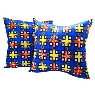 Blue African Print Fabric Pillow Covers - A Pair