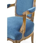 Image of French Chair in New Blue Velvet Upholstery