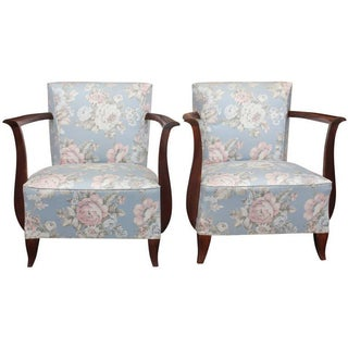 French Art Deco Carved Club Chairs - A Pair