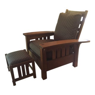 Stickley Mission Cherry Bow Arm Morris Chair Set - A Pair